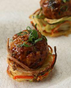 Turkey Meatball Veggie Nests