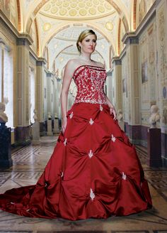 This is gorgeous!! Tons of plus size dresses, really cheap!!! and lots of other dresses for every occasion!... A-Line Cathedral Train Strapless Dropped Waist Ruched Long Satin Red Plus Size Wedding Dresses WD1427