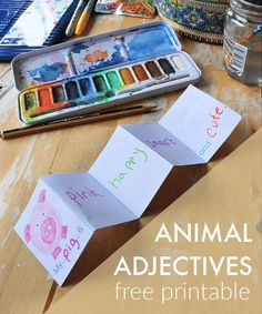Animal adjectives lesson and printable - NurtureStore