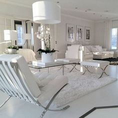 Modern luxury living room black view white living room decor blue decorating ideas grey silver home Romantic Living Room, Modern White Living Room, Living Room Modern, Interior Design Living Room, Living Room Designs, Living Room Decor, Living Rooms, Apartment Living, Cozy Apartment