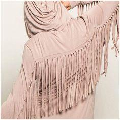 Take Me Away Hoodie Zip up hoodie jacket w/ fringe sleeves  60% Cotton, 35% Polyester, 5% Spandex. beige POL Jackets & Coats