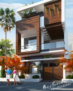 Trendy wood home exterior floor plans Ideas Modern Small House Design, Bungalow House Design, House Front Design, Cool House Designs, Front Elevation Designs, House Elevation, Building Elevation, House Architecture Styles, Modern Architecture