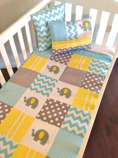 Elephant Baby Quilt and Two Cushion Covers in Yellow,Grey and Aqua - by AlphabetMonkey on madeit