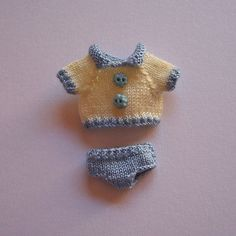 Little Handmade knitted outfit for miniature baby doll #RB232blue