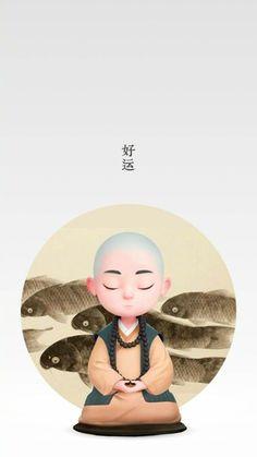 Cartoon Drawings, Cartoon Art, Cute Drawings, Cute Cartoon, Buddha Doodle, Buddha Art, Buddha Wallpaper Iphone, Country Costumes, Japanese Watercolor