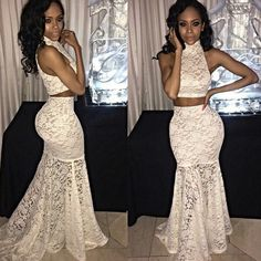 Lace Two Piece Prom Dresses 2018 Sexy Formal Evening Gowns For Women Party Dress Mermaid Style Ivory Prom Dresses, Prom Dresses 2016, Dresses Short, Mermaid Prom Dresses, Party Dresses For Women, Dresses For Teens, Backless Dresses, Bridesmaid Dresses, 2 Piece Prom Dress
