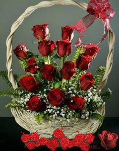 Basket of red roses Valentine Flower Arrangements, Basket Flower Arrangements, Valentines Flowers, Beautiful Flower Arrangements, Rosen Arrangements, Floral Arrangements, Beautiful Rose Flowers, Funeral Flowers, Flower Boxes