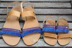 Mommy and Me Blue Fringe Greek Sandals by KandElphy