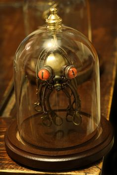 Steampunk Octopus Christmas Ornament with Glass Dome Display
