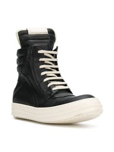 Rick Owens Geobasket hi-top Sneakers - Farfetch Designer Trainers, Rick Owens, Balenciaga, High Top Sneakers, Kicks, Lace Up, Purchase History, Booty, Shopping