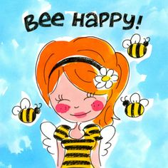 ┌iiiii┐ Happy Birthday Wishes. Bee Happy - Made with love by Blond-Amsterdam Blond Amsterdam, Happy B Day, Bee Happy, Round Robin, Birthday Wishes, Happy Birthday, Watercolor Fashion, Queen Bees, Happy Thoughts