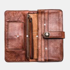 Hot-sale Men Vintage Card Holder Solid Phone Bag Long Wallet - NewChic Mobile Vintage Cards, Vintage Men, Mens Long Leather Wallet, Online Mobile, Make Money Now, Long Wallet, Clothes For Sale, Shopping Bag, Card Holder