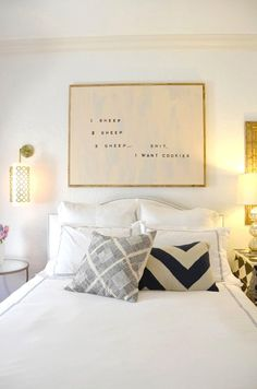 DIY large scale, counting sheep text art for above the bed AFTER