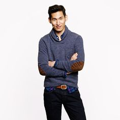 J.Crew - Slim rustic merino elbow-patch sweater with shawl collar