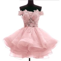 Pink Off the Shoulder Knee Length Prom Bridesmaid Party Tutu Dress SKU-401109
