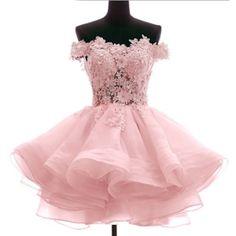 Pink Off the Shoulder Knee Length Prom Bridesmaid Party Tutu Dress SKU-401109