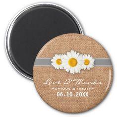 Daisy Ribbon - Burlap Gray & White Thank You 2 Inch Round Magnet