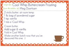 Cool Whip Buttercream frosting