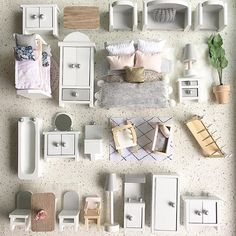A sweet little custom package filled with gorgeous Liberty florals, grey, gold and peach tones. Each piece is carefully painted by hand, bedding, and accessories are lovingly handcrafted to create a unique and special play set.