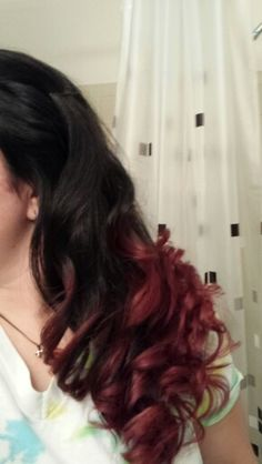 Black to red ombre hair!