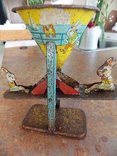 Vintage Bunny Seesaw Sand Toy J Chein Tin Litho USA