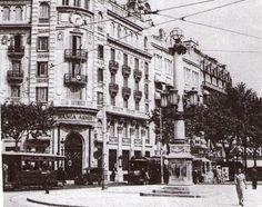 Banca Arnús, y principio de las Ramblas, 1910.