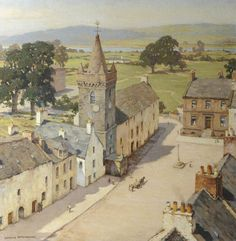 Charles Oppenheimer (British, From a Tower, kirkcudbright, n/d. Oil on canvas Clownin' Aroun': Photo Landscape Art, Landscape Paintings, Landscapes, Art Uk, City Art, Painting Inspiration, Impressionism, Les Oeuvres, Illustration Art