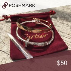 Rose Gold Bangle Set with pouch New! Rose Gold Bangle Set with pouch size 16 and size 19 available. Jewelry Bracelets