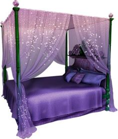 A purple, sparkly, bed...what more could one ask for?