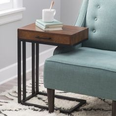 Belham Living Carter Mid Century Modern Side Table - The Mad Men-approved Belham Living Carter Mid-Century Modern Side Table offers a place to set your Old Fashioned and stash those magazines. Rounded...