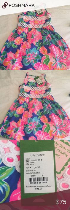 d3da724570b4c1 Girls NWT Lilly Pulitzer Elize halter dress size 5 Lilly Pulitzer NWT Girls  Pattern: Beckon Blue Jungle Adorable fit and flare Zip back Halter dress  Lilly ...