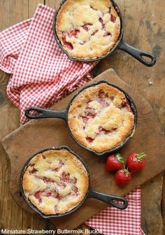 A sweet vintage dessert made in personal size cast iron skillets: Miniature Strawberry Buttermilk Buckle. Gluten-free or with gluten options.