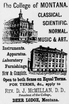 ad for The College of Montana, Deer Lodge, MT from Livingston Enterprise, September 11, 1886