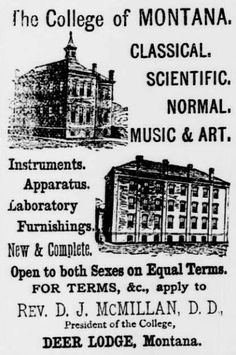 ad for The College of Montana, Deer Lodge, MT from Livingston Enterprise, September 11, 1886