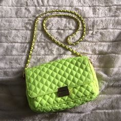 F21 Crossbody Bag Neon Yellow quilted forever 21 Crossbody, 3 compartments inside, a zippered portion inside and pouch on outside Forever 21 Bags Crossbody Bags