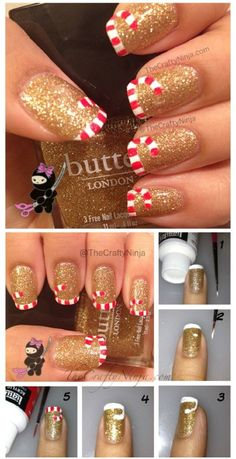 Candy Cane Tips - 20 Fantastic DIY Christmas Nail Art Designs That Are Borderlin., nails candy cane Candy Cane Tips - 20 Fantastic DIY Christmas Nail Art Designs That Are Borderlin. Nail Art Noel, Nail Art Diy, Diy Nails, Cute Nails, Pretty Nails, Gorgeous Nails, Diy Art, Diy Christmas Nail Art, Christmas Nail Art Designs