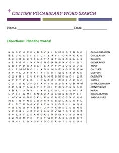 CULTURE VOCABULARY WORD SEARCH