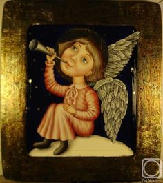 Ангел, играющий на трубе.. Работы автора. Якушева Юлия Витальевна. Художники. Картины, картинная галерея, продажа картин