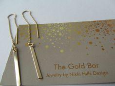 Best Seller! Gold Threader Earrings, 14K Gold Bar Earrings,Ear Thread Earrings, Gold Chain Earrings by TheGoldBar