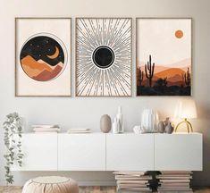 Mid Century moderne Kunst Sonne und Mond Druck Set von 3 | Etsy
