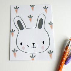 Easter postcard . Rabbit card. Easter bunny card