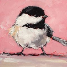 Reserved for Emer. Chickadee Bird Paintings 5x5 von LaveryART