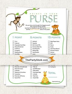INSTANT DOWNLOAD Safari Baby Shower Games: Points In Your Purse, Printable  DIY File, Invitation Also Available. Safari ThemeSafari PartyJungle ...