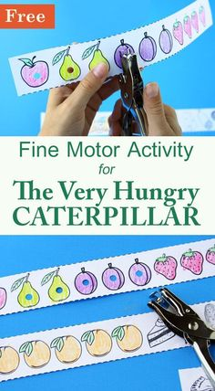 The Very Hungry Caterpillar activity - a fun way for preschoolers to practice fine motor and pre-reading skills. The Very Hungry Caterpillar activity - a fun way for preschoolers to practice fine motor and pre-reading skills. Caterpillar Preschool, The Very Hungry Caterpillar Activities, Preschool Books, Preschool Crafts, Preschool Reading Activities, Bug Activities, Childcare Activities, Bug Crafts, Sequencing Activities