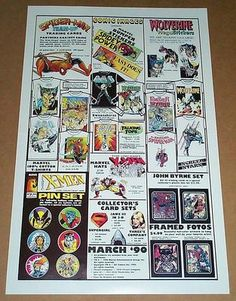 This vintage 1990 comic shop dealer PUNISHER/SPIDER-MAN/X-MEN/WOLVERINE PROMOTIONAL PROMO POSTER was an advertisement for Marvel merchandise produced by a company called Comic Images from Saddle Brook, New Jersey/NJ.  These 1980's or early 1990's posters generally showed various Marvel Universe t-shirts, buttons, pins, trading cards, etc.