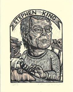 Stephen King Art Print - Linocut Print - Author Art - Literary Art - Art Prints - Lino Print - Home Decor - Reader Gift - Halloween Gift Linocut Prints, Art Prints, Stephen King Books, Stephen Kings, Steve King, Horror Icons, King Art, King Of Kings, Vintage Postcards