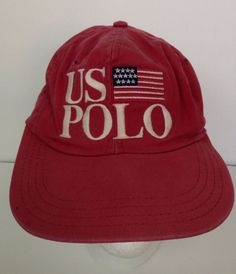 Polo Ralph Lauren Cap Red US Polo Spellout Embroidered Strapback Hat PRL  Vintage  PoloRalphLauren  BaseballCap c4a3b6ae1453
