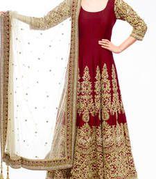 Buy Maroon art silk embroidered semi stitched salwar with dupatta party-wear-salwar-kameez online