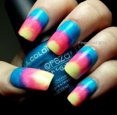Tri Polish Tuesdays April #1 - Yellow, pink and blue! - Finger Food