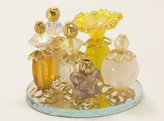 collection of perfume bottles | Dollhouse Miniature Perfume Bottle Collection Regal Elegance Yellow ...